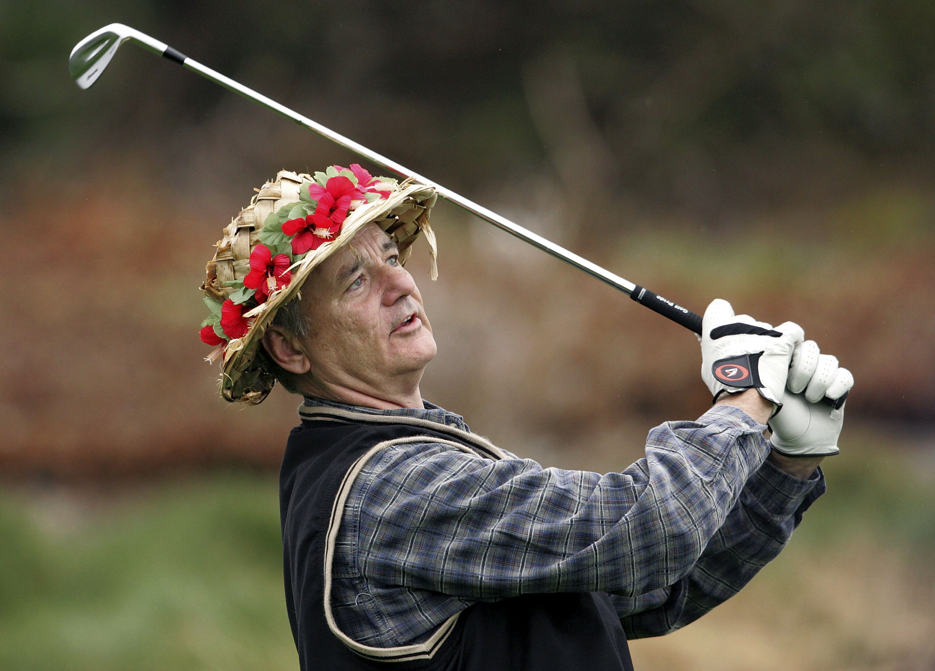 PEBBLE BEACH, CA - FEBRUARY 08:  Actor Bill Murray tees off from the 2nd tee of Spyglass Hill Golf Course during the first round of the AT&T Pebble Beach National Pro-Am February 8, 2007 in Pebble Beach, California.  (Photo by Justin Sullivan/Getty Images)
